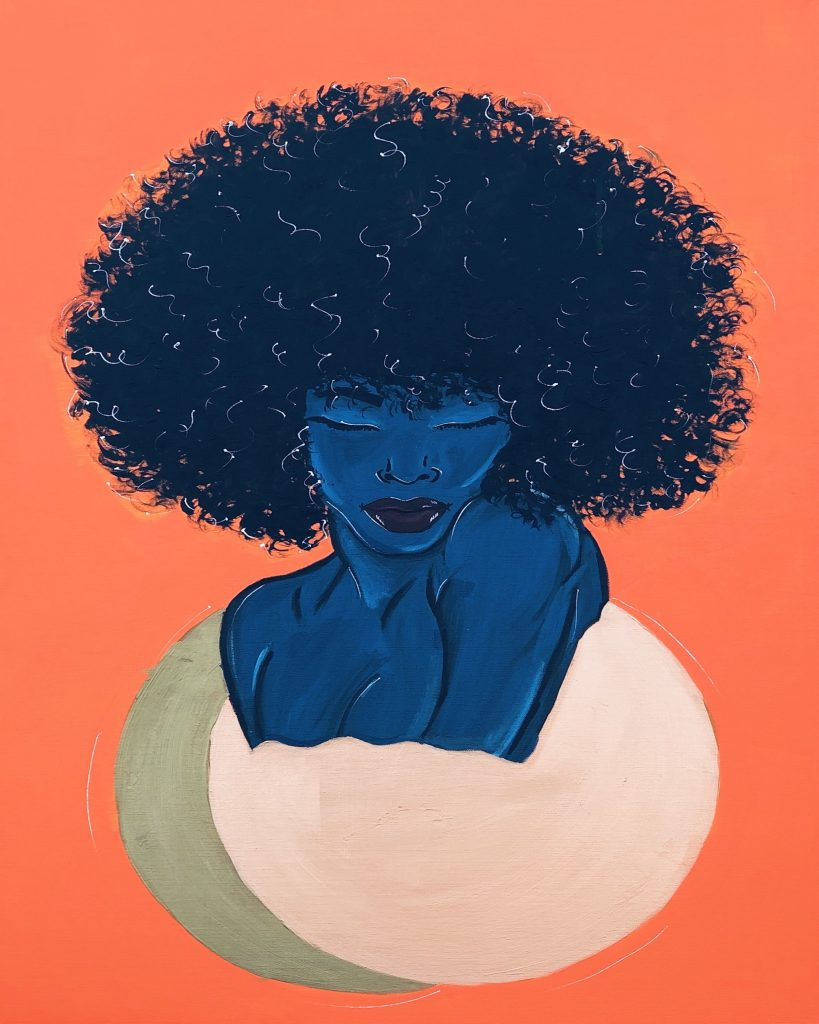 Against an orange background, a dark woman tinted blue with a large afro and closed eyes